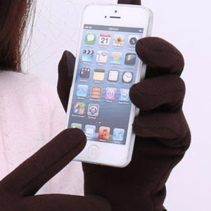 Touch Screeen Glove Womens holding phone